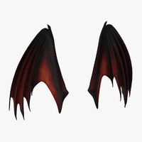red closed dragon wings 3d max