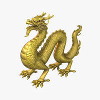 ancient dragon statue 3d obj