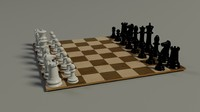 chess set board pieces 3d model