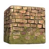 Deteriorated Brick Wall Moss Bottom