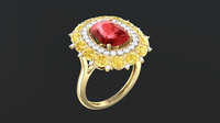 3d model gem cushion ring