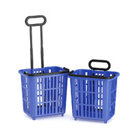 blue shopping baskets 3d obj