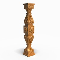carved wooden column 3d max