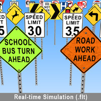 3d real-time road sign model