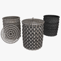 3d wicker flasket model