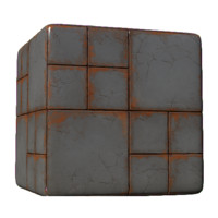 Concrete Blocks with Orange Grime - No Pebbles