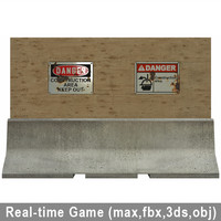 real-time jersey barrier 3d model