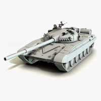 3d model of low-poly battle tank t-72