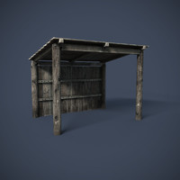 3d model of wooden structures