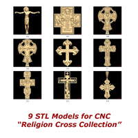 Collection of 9 3d STL Models for CNC - Religion Cross