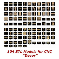 Collection of 104 3d STL Models for CNC - Decor Collection