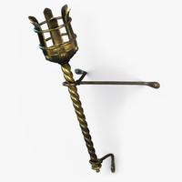 metal medieval torch 3d model