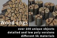 realistic logs 3d model
