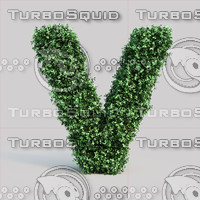alphabet v buxus 3d model