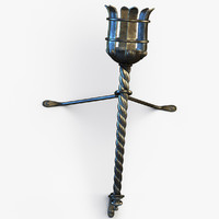 3d model metal medieval torch