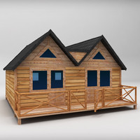 Wooden House Large low poly