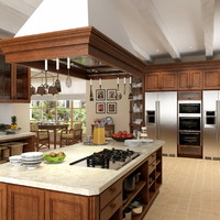 3d scene country kitchen
