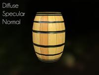 medieval barrel asset obj