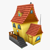 3d cartoon house hand model