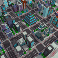3d model - modern cartoon city