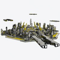 3d - sci-fi cityscape 2 model