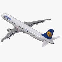 airbus a321 lufthansa rigged 3d model
