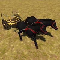 horse run cart 3d model