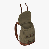 3d standing open travel backpack model