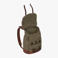 3d standing open travel backpack model