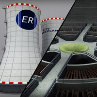 3d max cooling tower power plant