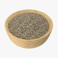 3d bowl ground black pepper model