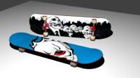 skateboard skate board 3d blend