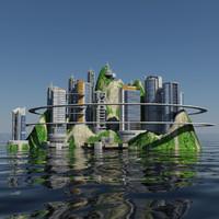 3d model - island city 1