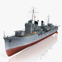 japanese destroyer arashi 3d model