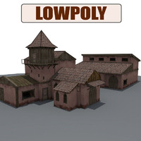 medieval house buildings 3d model