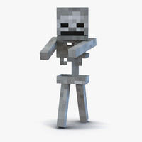 3d minecraft skeleton rigged model