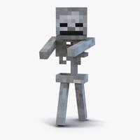 3d minecraft skeleton rigged model
