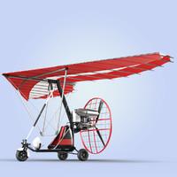 motor trike hang glider 3d c4d