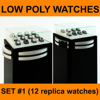 12 High quality Low Poly Replica Watches Collection Set #1 ready to use for watch store scene