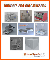 3d gallery butchers delicatessens model