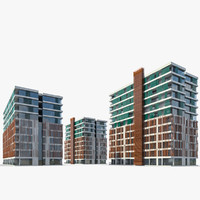 3d residential buildings exterior model