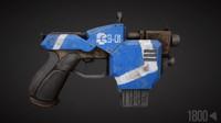 sci-fi pistol 3d obj