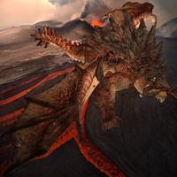 rigged red fantasy dragon max
