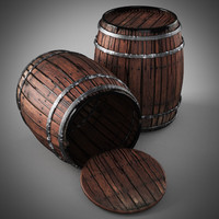 old wooden barrels 3d max