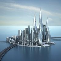 dubai towers city architecture buildings 3d max