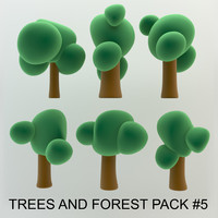 3d beautiful cartoon trees forest model