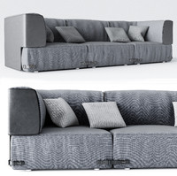 grey seat fabric 3d model