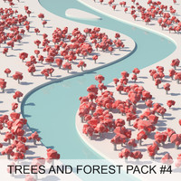 cartoon trees forest pack 3d model