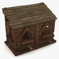 3d house birdhouse bird model