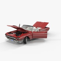3d thunderbird 1964 cabriolet rigged model